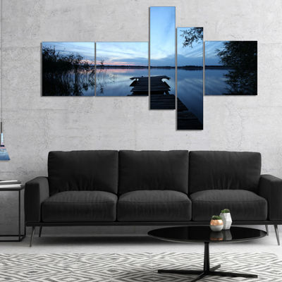 Designart Dark Wooden Pier In Lake Multipanel Seascape Canvas Art Print - 5 Panels