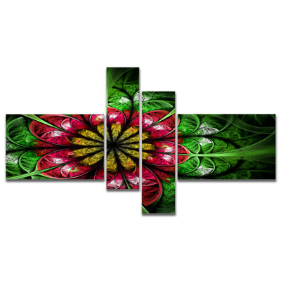 Designart Dark Yellow And Green Flower MultipanelAbstract Wall Art Canvas - 4 Panels
