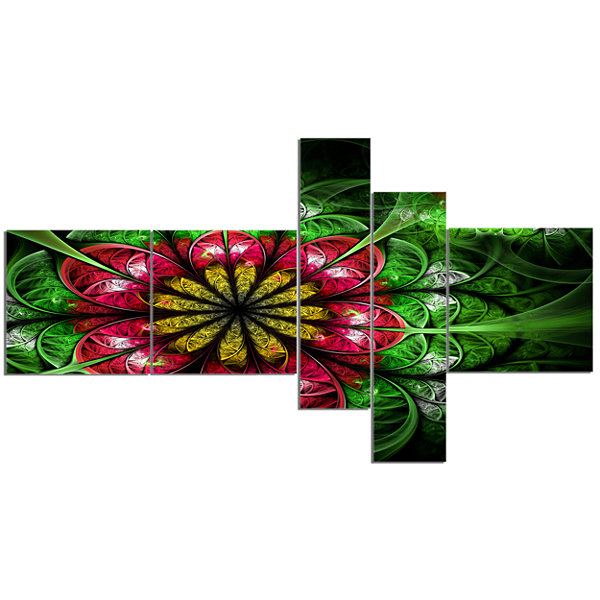 Designart Dark Yellow And Green Flower MultipanelAbstract Wall Art Canvas - 5 Panels