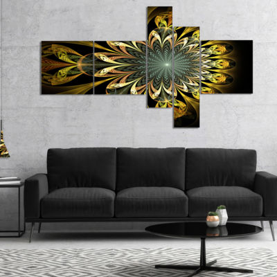 Designart Dark Yellow Digital Flower Multipanel Abstract Wall Art Canvas - 5 Panels
