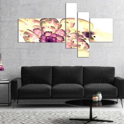 Designart Dark Yellow Fractal Floral Art Multipanel Abstract Print On Canvas - 4 Panels