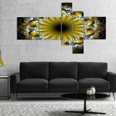 Designart Dark Yellow Fractal Flower Multipanel Abstract Canvas Art Print - 4 Panels