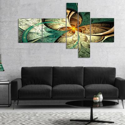 Design Art Dark Yellow Green Fractal Flower Multipanel Abstract Canvas Art Print - 5 Panels