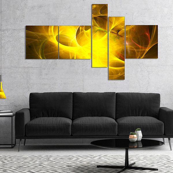 Designart Dark Yellow Nebula Star Multipanel Abstract Canvas Art Print - 4 Panels