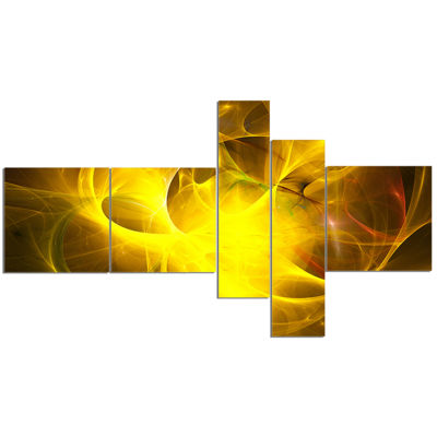 Designart Dark Yellow Nebula Star Multipanel Abstract Canvas Art Print - 5 Panels