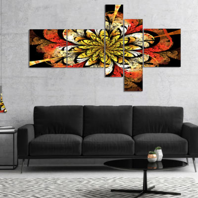 Designart Dark Yellow Orange Fractal Flower Multipanel Abstract Wall Art Canvas - 5 Panels