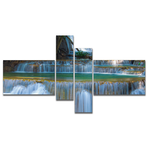 Designart Deep Forest Waterfall Thailand Multipanel Landscape Photography Canvas Print - 4 Panels