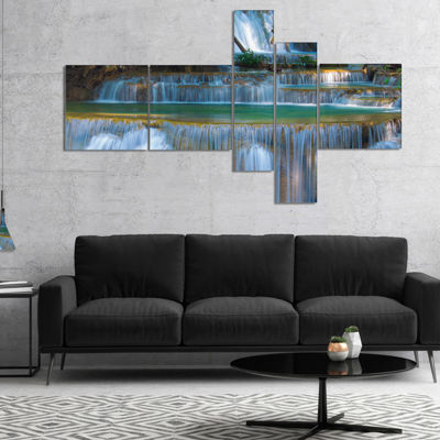 Designart Deep Forest Waterfall Thailand Multipanel Landscape Photography Canvas Print - 5 Panels