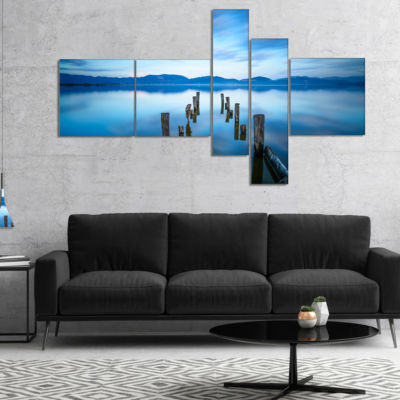 Designart Deep Into The Sea Pier Multipanel Seascape Canvas Art Print - 4 Panels