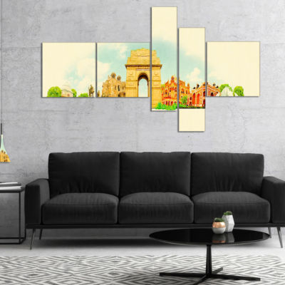 Designart Delhi Panoramic View Multipanel Cityscape Watercolor Canvas Print - 4 Panels