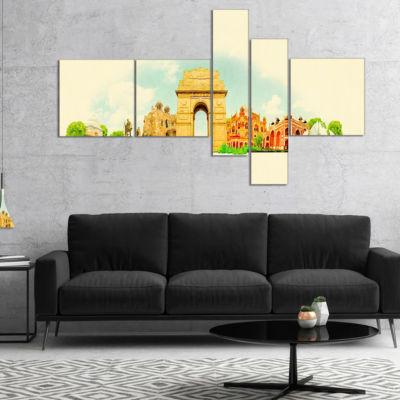 Designart Delhi Panoramic View Multipanel Cityscape Watercolor Canvas Print - 5 Panels