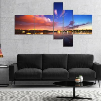 Designart Delighted Reflection In River MultipanelLandscape Photography Canvas Print - 5 Panels