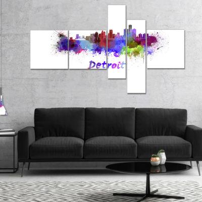 Designart Detroit Skyline Multipanel Cityscape Canvas Artwork Print - 5 Panels