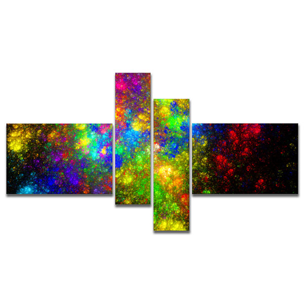 Designart Distant Galaxies Multipanel Abstract Canvas Art Print - 4 Panels