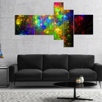 Designart Distant Galaxies Multipanel Abstract Canvas Art Print - 5 Panels