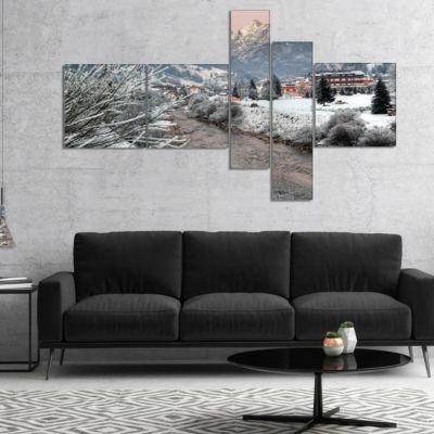 Designart Dolomites Winter Italy Multipanel Landscape Photography Canvas Print - 4 Panels