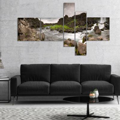 Designart Dramatic Oxarafoss Waterfalls MultipanelAbstract Art On Canvas - 4 Panels