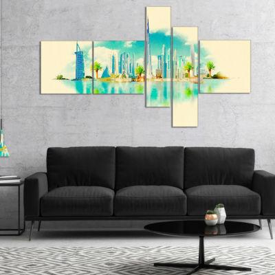 Designart Dubai Panoramic View Multipanel Cityscape Watercolor Canvas Print - 5 Panels