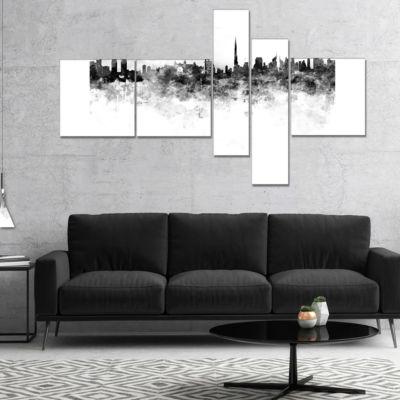 Designart Dubai Skyline Multipanel Cityscape Canvas Artwork Print - 5 Panels