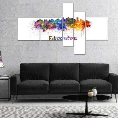 Designart Edmonton Skyline Multipanel Cityscape Canvas Artwork Print - 4 Panels