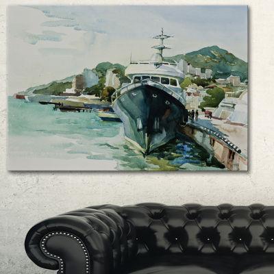 Designart Yacht In Port Yalta Landscape Art PrintCanvas