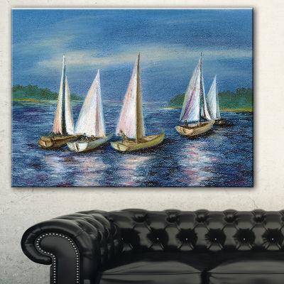 Designart Yachts By Obsky Sea Seascape Canvas ArtPrint - 3 Panels