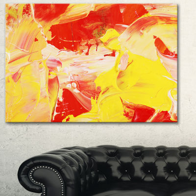 Designart Yellow And Red Abstract Art Abstract Canvas Print - 3 Panels