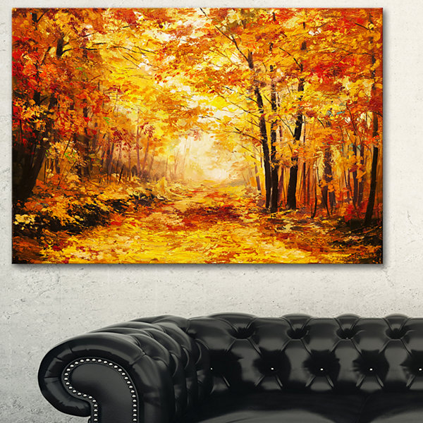 Designart Yellow Autumn Forest Landscape Art PrintCanvas