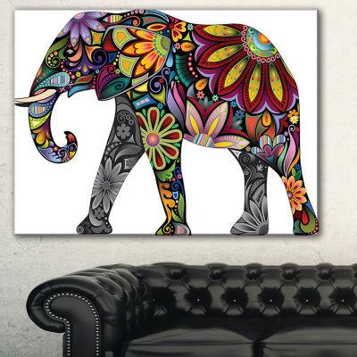 Designart Yellow Cheerful Elephant Animal Canvas Art Print