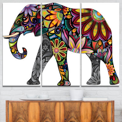 Designart Yellow Cheerful Elephant Animal Canvas Art Print - 3 Panels