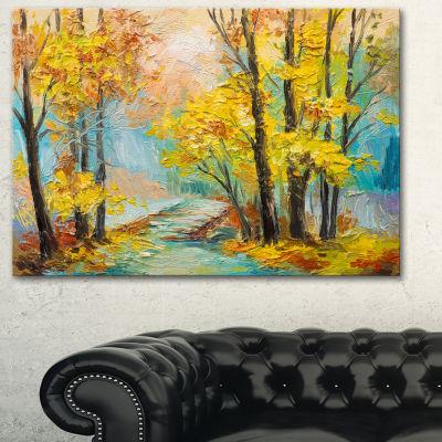 Designart Yellow Falling Forest Landscape Art Print Canvas - 3 Panels