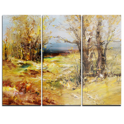 Designart Yellow Forest Landscape Art Print Canvas- 3 Panels
