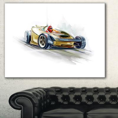 Designart Yellow Formula One Car Digital Art CarCanvas Print