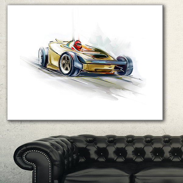 Designart Yellow Formula One Car Digital Art CarCanvas Print - 3 Panels