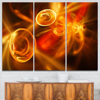 Designart Yellow Fractal Desktop Abstract Canvas Art Print - 3 Panels
