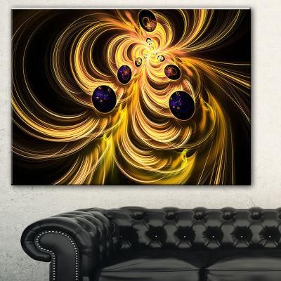 Designart Yellow Fractal Flames Contemporary Canvas Art Print - 3 Panels