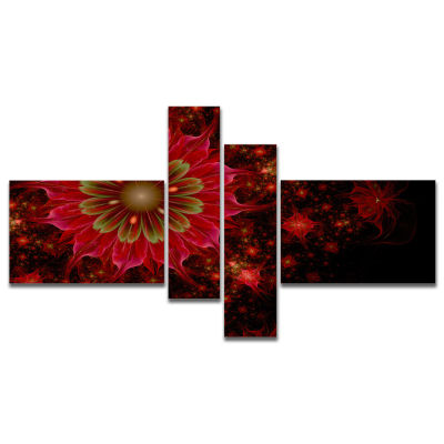 Designart Dark Red And Light Green Fractal FlowersMultipanel Abstract Print On Canvas - 4 Panels