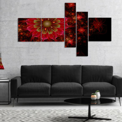 Designart Dark Red And Light Green Fractal FlowersMultipanel Abstract Print On Canvas - 5 Panels