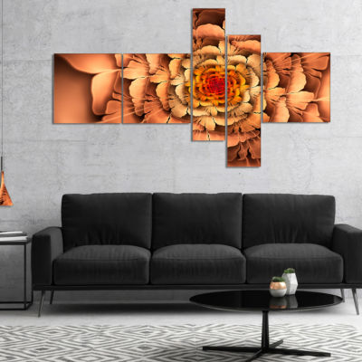 Designart Dense Fractal Brown Petals Multipanel Floral Canvas Art Print - 5 Panels