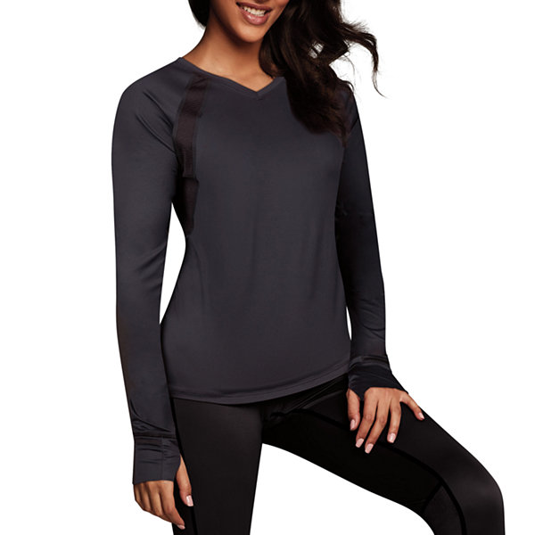 Maidenform Sport Baselayer Active V-Neck Thermal Shirt