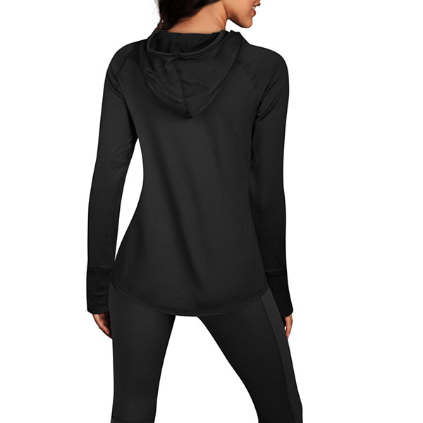Maidenform Sport Baselayer Midweight Funnel Neck Hooded Thermal Shirt