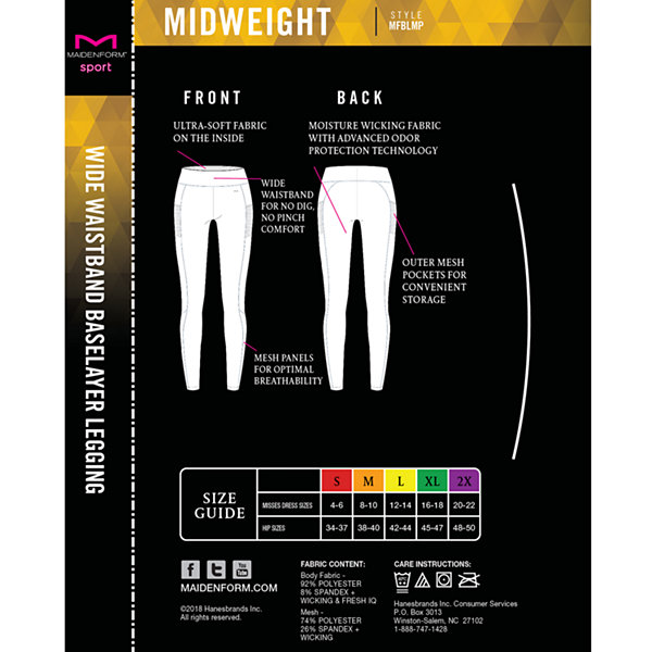 Maidenform Sport Baselayer Midweight High-Waisted Thermal Pants