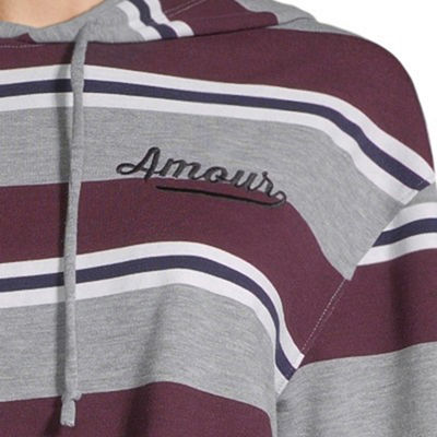 "Hybrid Tees ""Amour"" Striped Hoodie - Juniors"