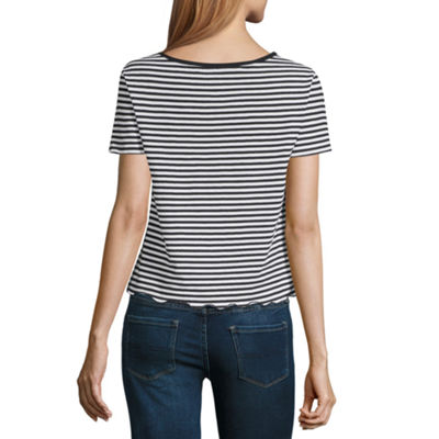 """Happy"" Striped Tee - Juniors"