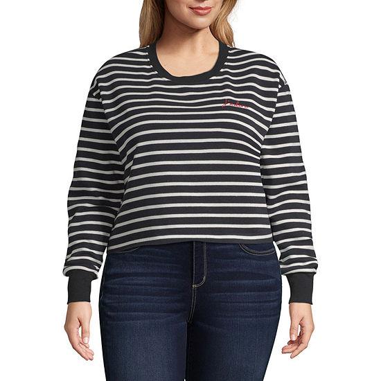 "Striped ""J'adore"" Sweatshirt - Juniors Plus"