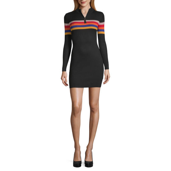 Almost Famous Long Sleeve Sweater Dress-Juniors