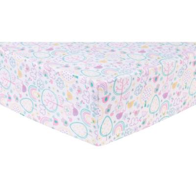 Trend Lab Rainbow Birds Flannel Fitted Crib Sheet
