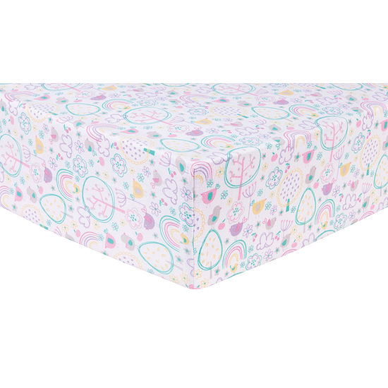 Trend Lab Rainbow Birds  Flannel Fitted Crib Sheet Crib Sheet