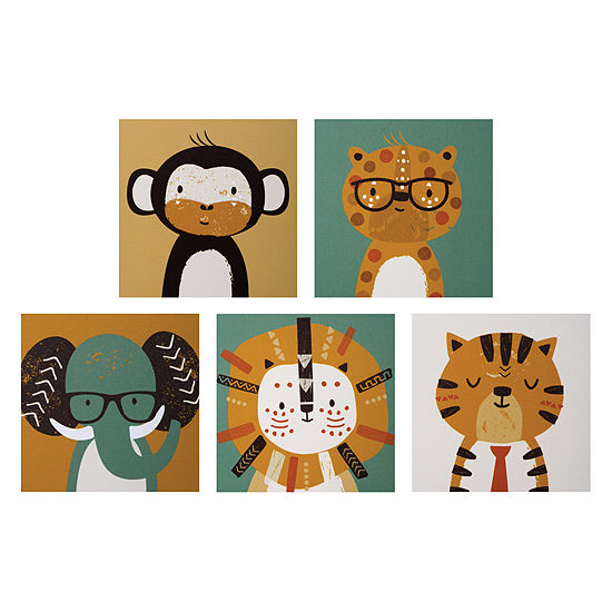 Trend Lab Safari Portraits Canvas 5-Pc. Wall Art 5-pc. Canvas Art