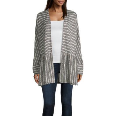 Artesia Womens Long Sleeve Open Front Stripe Cardigan